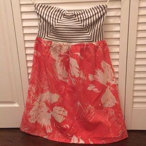Roxy strapless dress Hawaiian print